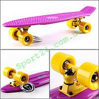 Фиолетовый пенни борд 22 Фиш желтые колеса (penny board fish)
