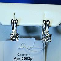 Родированные серьги с фианитом серебро 2982р, фото 1