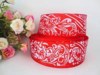 Атласная лента с орнаментом, цвет красный,  4 см.