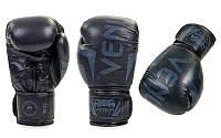 Перчатки боксерские кожаные на липучке VENUM BO-5238-BK черные