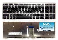 Оригинальная клавиатура для Lenovo IdeaPad U510, Z710 series, black, silver frame, ru, подсветка