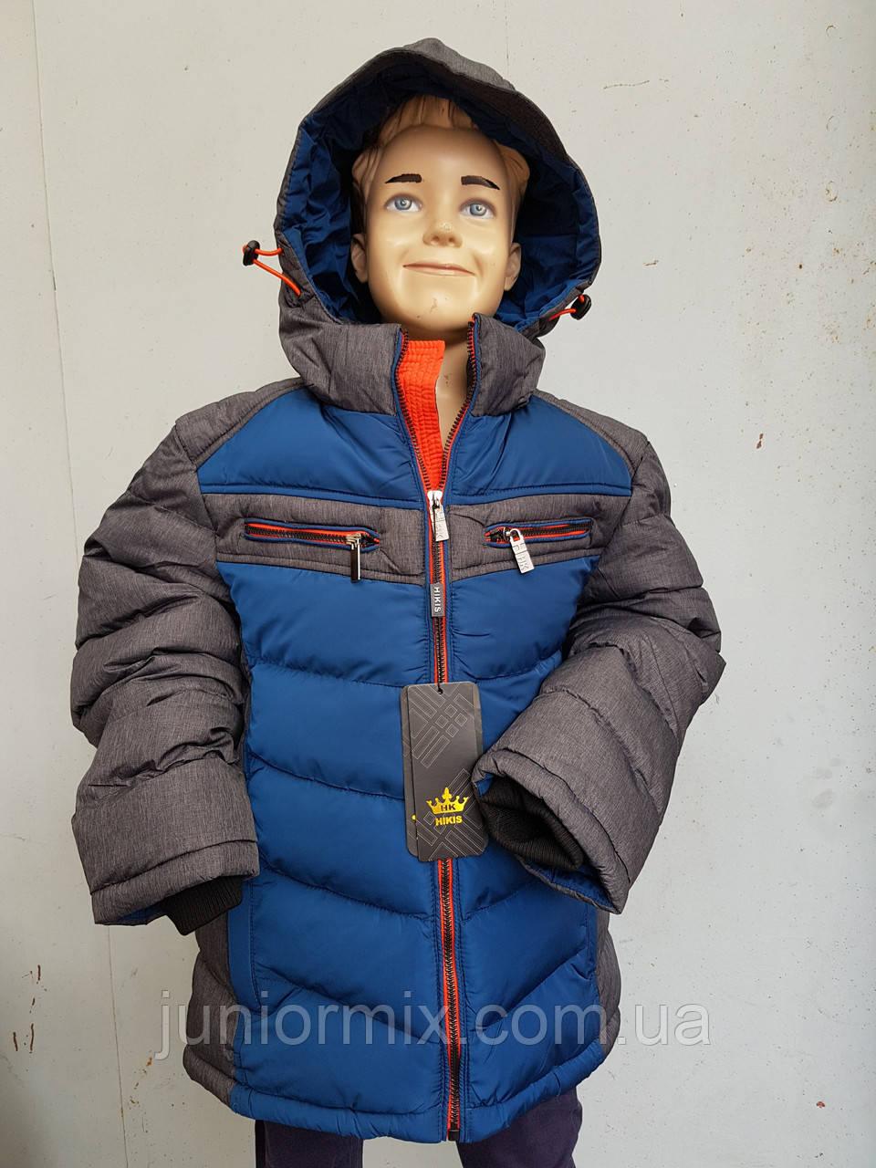 Куртка зимняя на мальчика подросток HIKIS с косыми полосами