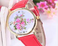 Женские часы  красного цвета Geneva (131)