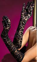 Кружевные перчатки 43 см черные