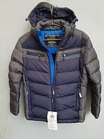 Куртка зимняя на мальчика подросток HIKIS с косыми полосами Темно-синий