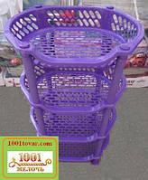 Пластиковая этажерка LUX на 4-и полки, фиолетовая