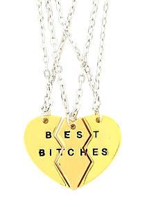 Тройной  кулон Best Bitches Золото для подруг