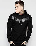 Трикотажное черное мужское худи с вставкой из эко-кожи, толстовка с капюшоном, теплая на флисе S M L
