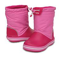 Сапоги зимние для девочки Crocs Kids Crocband LodgePoint Boot / сноубутсы детские непромокаемые с затяжкой