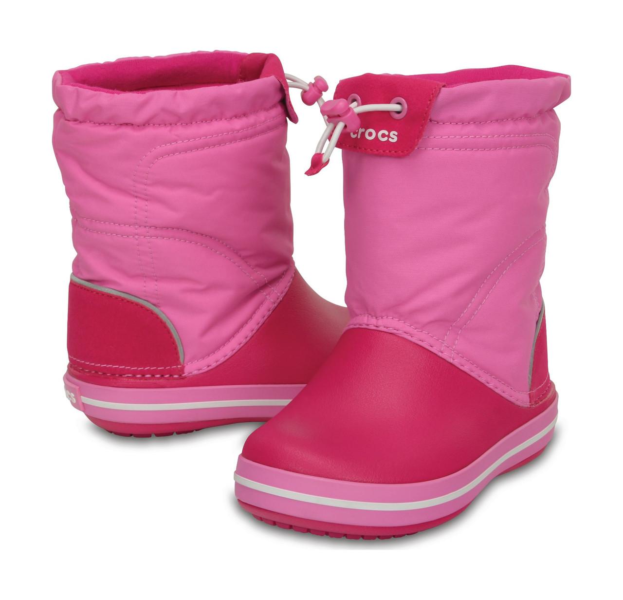 Сапоги зимние для девочки Crocs Kids Crocband LodgePoint Boot   сноубутсы  детские непромокаемые с затяжкой 80227dfbbacab
