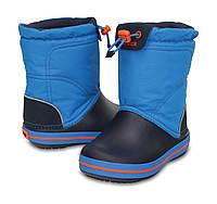Сапоги зимние для мальчика Crocs Kids Crocband LodgePoint Boot / сноубутсы детские непромокаемые с затяжкой