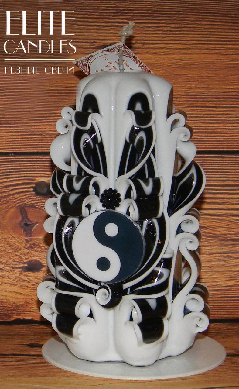 Ручная работа, свеча резная Фен-шуй, 14 см высотой