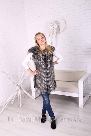 Женская жилетка из меха чернобурки, фото 2