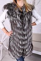 Женская жилетка из меха чернобурки