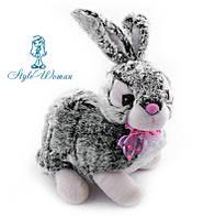 Мягкая музыкальная игрушка кролик серый 36см