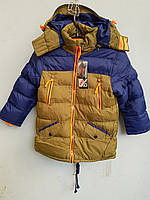 Куртка зимняя на мальчика HIKIS двухцветная маленькая кофейный