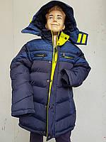 Куртка зимняя на мальчика подросток HIKIS с трехцветной фурнитурой