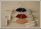 Вешалка с деревянной вставкой чёрная с прищепками, фото 3