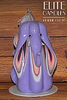 Свеча резная Фен-шуй в форме слона, 12 см высотой, фиолетового цвета