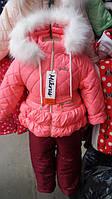 Зимний Комбинезон для девочек утепленный мехом