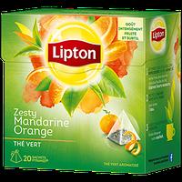 Зеленый чай Lipton Мандарин-Апельсин ароматизированный с цедрой цитрусовых, 20 пакетиков