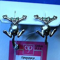 Серебряные серьги-пусеты Котик 2112