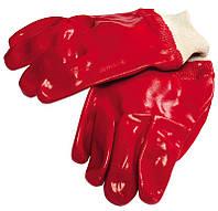 """Перчатки кислотостойкие, х/б трикотаж, полное ПВХ покрытие, вязаный манжет (красные),10,5"""",123-127 г"""