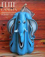 Подарок Фен-шуй, сувенирная свеча в форме слона, 12 см высотой, голубого цвета