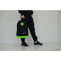 Спортивный городской рюкзак Nike с кожаным дном (салатовый), Реплика