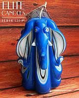 Сувенирная резная свеча в форме слона, 12 см высотой, синего цвета цвета