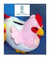 Копилка курочка мягкая игрушка, розовая
