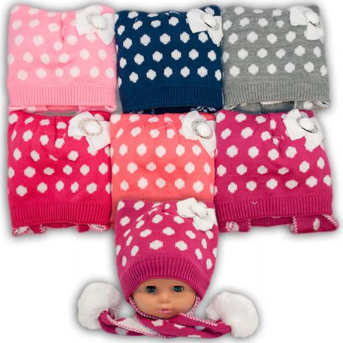 Вязанная шапка с длинными ушами для девочек, подкладка флис, код. V266