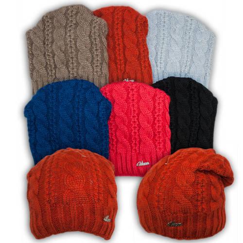 Вязаная шапка с защипом для девочек, подкладка флис, код. V306