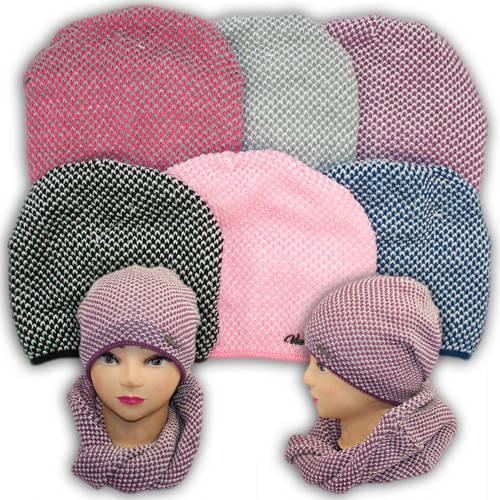 Шапка и шарф (хомут) для девочек, подкладка флис, код. V256