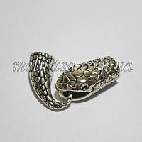 """Бижутерный замок """"Змея"""", концевик  для бисерных жгутов, цвет серебро"""