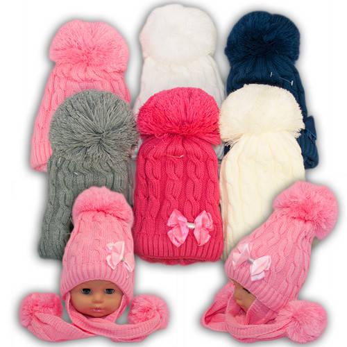 Вязанная шапка с длинными ушами для девочек, подкладка флис, код. V208