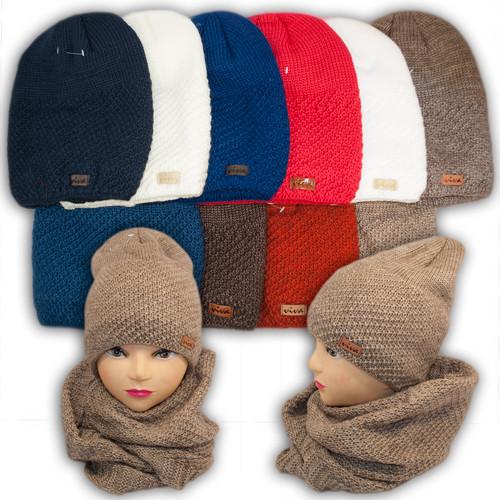 Шапка и шарф (хомут) для девочки, подкладка флис, код. V213