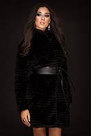 Шуба черная с поясом длинная полосочка