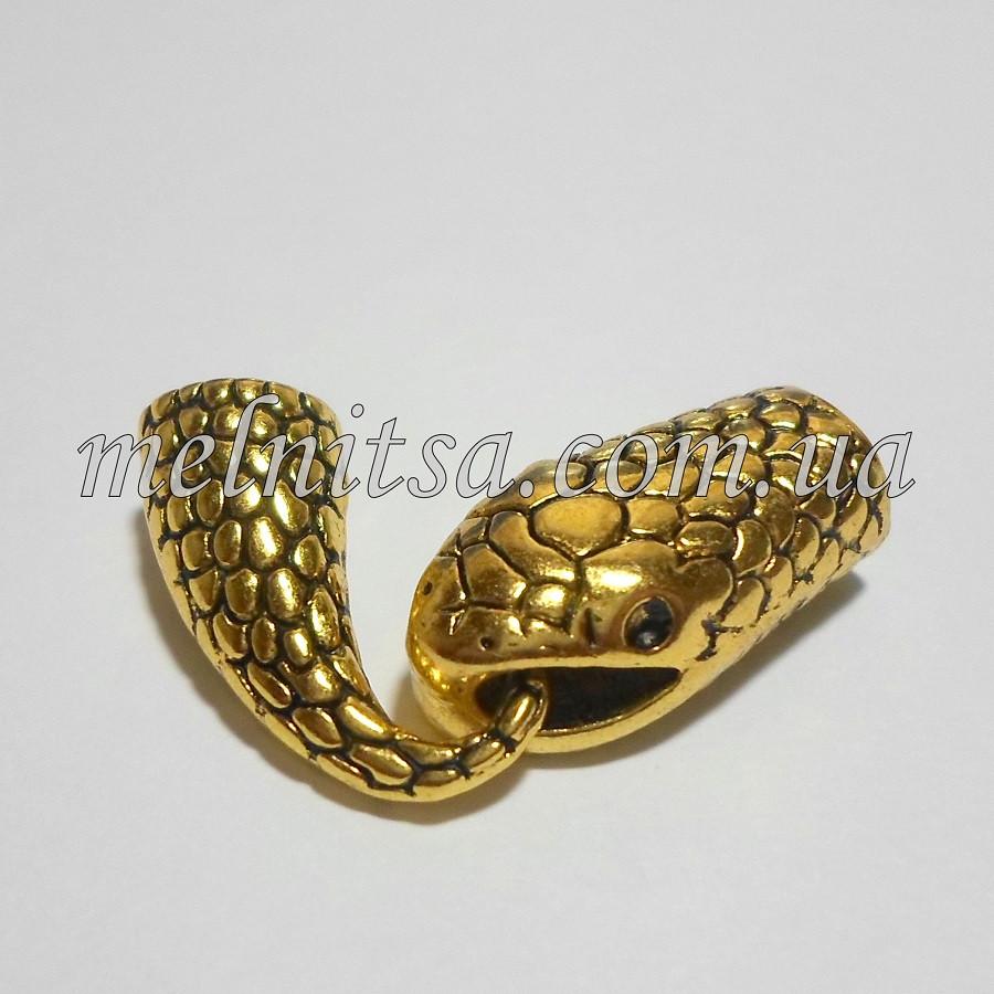 """Бижутерный замок """"Змея"""", концевик для бисерных жгутов, цвет античное золото"""