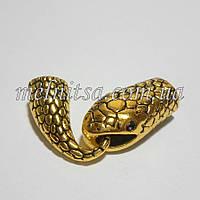 """Бижутерный замок """"Змея"""", концевик для бисерных жгутов, цвет золото"""