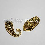 """Бижутерный замок """"Змея"""", концевик для бисерных жгутов, цвет античное золото, фото 2"""