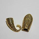 """Бижутерный замок """"Змея"""", концевик для бисерных жгутов, цвет античное золото, фото 3"""