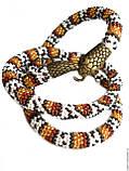 """Бижутерный замок """"Змея"""", концевик для бисерных жгутов, цвет античное золото, фото 4"""
