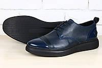 Мужские кожаные туфли в синем цвете, кожа