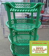 Пластиковая этажерка LUX на 4-и полки, зелёная