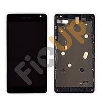 Дисплей Nokia 535 Lumia (ревизия ct2C) с тачскрином в сборе, цвет черный, в рамке