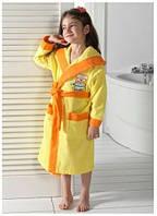 Детский халат для девочки 7-8 лет Philippus жёлтый  с собачкой