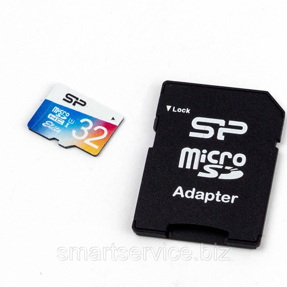 Карта памяти Silicon Power 32GB microSDHC C10 UHS-I + SD адаптер Elite Colorful