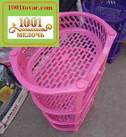 Пластиковая этажерка LUX на 4-и полки, розовая