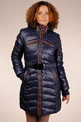 Стильний синій теплий стьобаний жіночий пуховик на гусячому пуху SNOW CLASSIC - знижка